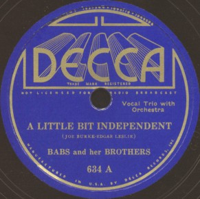 Decca Label-A Little Bit Independent-1936