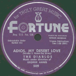 Fortune Label-Adios, My Desert Love-The Diablos-1954