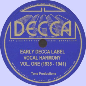 Early D-E-C-C-A Label Vocal Harmony-Volume One CD