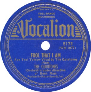 Vocalion Label-Quintones-Fool That I Am-1939