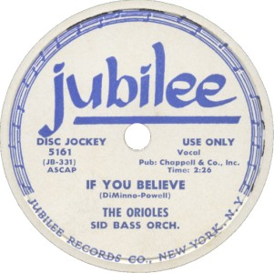 Jubilee Label-The Orioles-1954