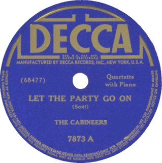 Decca Label-Let The Party Go On-The Cabineers-1941