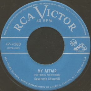 RCA Victor Label-Savannah Churchill-My Affair-1952