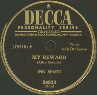 Decca Label-My Reward-The Ink Spots