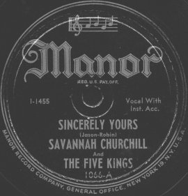 Manor Label-Savannah Churchill And The Five Kings-1947