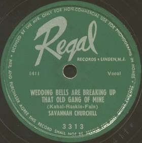 Regal Label-Wedding Bells...-Savannah Churchill With The Striders-1951