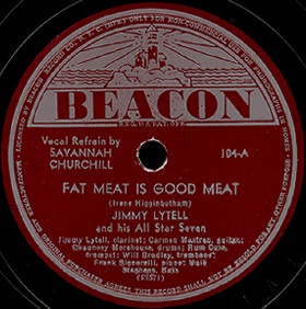 Beacon Label-Fat Meat Is Good Meat-Savannah Churchill-1942