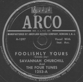 Arco Label-Savannah Churchill And The Four Tunes-1950