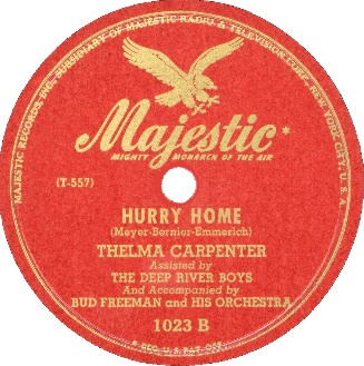 Majestic Label-Hurry Home-Thelma Carpenter And Deep River Boys-1946
