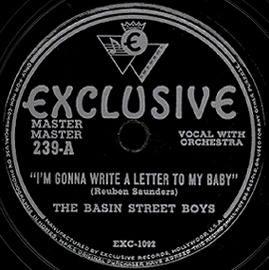 Exclusive Label-I'm Gonna Write A Letter To My Baby-The Basin Street Boys-1948