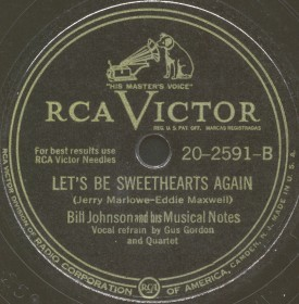 RCA Victor Label-Let's Be Sweethearts Again-Bill Johnson and his Musical Notes-1947