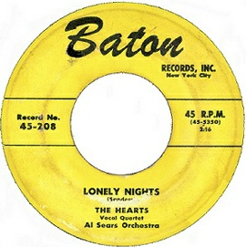 Baton 45RPM Label-Lonely Nights-The Hearts-1955