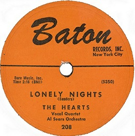 Baton 78RPM Label-Lonely Nights-The Hearts-1955