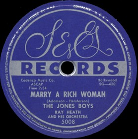 S&G Label-Marry A Rich Woman-Jones Boys-1954