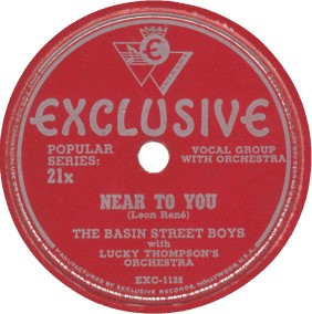 Exclusive Label-Basin Street Boys-Near To You-1947