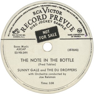 RCA Victor Label-The Note In The Bottle-Sunny Gale and The Du Droppers-1953