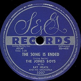 S&G Label-The Song Is Ended-Jones Boys-1954