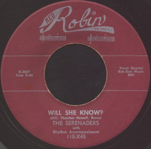 Red Robin Label-Will She Know?-Serenaders-1953