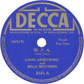 Decca Label-W.P.A.-Louis Armstrong and The Mills Brothers-1940